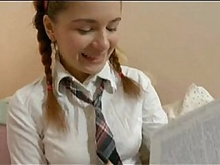 Teenie in school uniform dildo masturbation