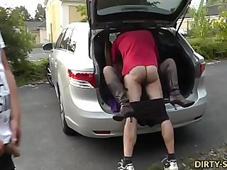 Young wife Nicole fucked by hundreds of cocks