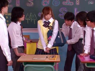 Oriental legal age teenager schoolgirl giving cook jerking in class