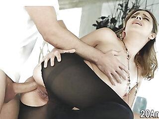 Sucking babe in pantyhose gets butt spermed